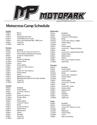 MP Camp Schedule